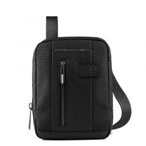 Piquadro Brief Line – Black Fabric and Leather Crossbody for iPad Mini CA3084BR