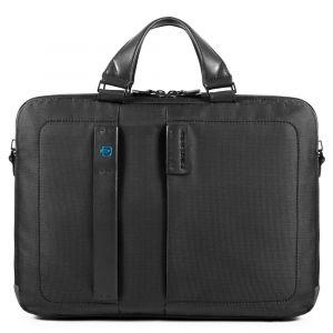 "Two Handles Briefcase PIQUADRO Porta Pc 15.6 ""and iPad - CA3347P16 in Black Fabric"