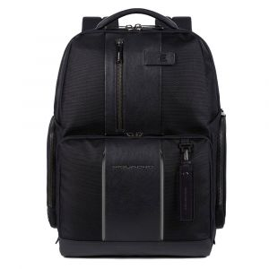 """PIQUADRO Brief 2 Line – Black Fabric and Leather Backpack with 15,6"""" Pc Compartment CA4532BR2"""