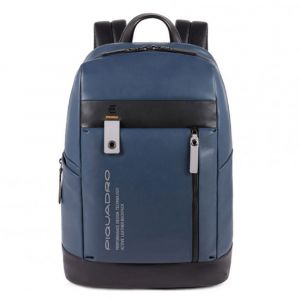 """PIQUADRO Downtown Line – Blue Leather Backpack with 14"""" Pc and Tablet Compartment CA4545DT"""